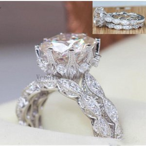 2018 Vintage Engagement Wedding Ring Set for Women 3ct Analog Diamond Cz 925 Sterling Silver Women's Party Ring156411255376 n8DH#