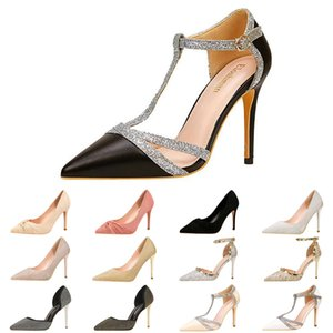 Discount Luxury 10cm Hauts High Highel Femmes Chaussures Casual Chaussures Élégantes Sexy Sequins Mariage Glitter Spikes Robe Taille 35-40