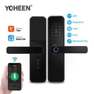 Cerradura de puerta biométrica de la huella Bloqueo inteligente Intelligent Electronic Digital YOHEEN WiFi Tuya inteligente aplicación de control de marcación Vida