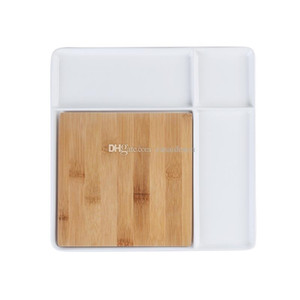 Square White Porcelain Cheese Serving Platter with Nature Bamboo Cutting Board Contemporary Serve Tray for Cracker Sushi Fruit