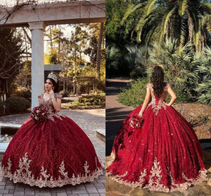 Dark Red Beaded Ball Gown Quinceanera Dresses 2021 V Neck Cap Sleeves Sweet 16 Dress Pageant Gowns Lace Formal Prom Evening Gowns AL8412