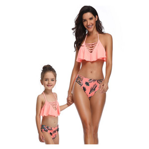 2021 Summer Family Matching Swimsuit 2pcs Sets Floral Halter Ruffles Bikini Triangle Swimming Trunks Mother Daughter E0121