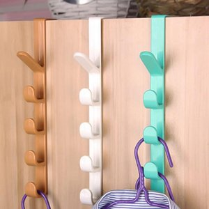 1pcs Plastic Home Storage Organization Hooks Rails Bedroom Door Hanger Clothes Hanging Rack Holder Hooks For Bags Random Color