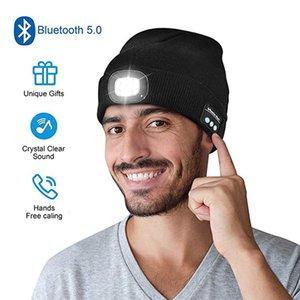 Nuova musica wireless Bluetooth Hat ha condotto wireless talk notturno illuminazione all'aperto illuminazione da pronto soccorso caldo cappello a maglia caldo DHL GRATIS