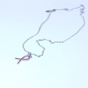 Necklace designer jewelry love heart necklace for Breast Cancer red zircon boucles d'oreilles de designer necklace