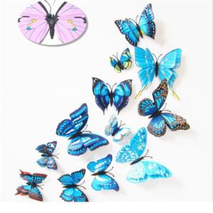12 unids Multicolor Multicolor Alas de la capa de la mariposa 3D Pegatina de pared Imán PVC Mariposas Partido Dormitorio Dormitorio Decoración BBYFAQ