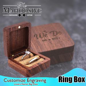 Casella di legno del portatore dell'anello di legno Rustico Rustico Personalizzato di fidanzamento della scatola di nozze del cuscino del cuscino del regalo quadrato del regalo quadrato del cuscino del regalo quadrato del cuscino del regalo quadrato