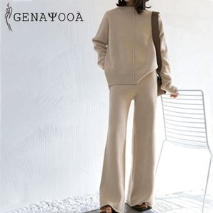 Genayooa Winter Tracksuit 2 Piece Pant Suits For Women Knitted Long Sleeve Two Piece Set Top And Pants Women Suit Outwear Korean 200930