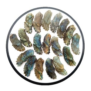 Labradorite naturelle Ailes d'ange sculpté à la main bricolage Pendentif Bijoux Accessoires Cristal Agate Bijoux énergie de guérison pierres semi-précieuses perles W