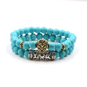 Mkendn Hot 2 Pcs set Buddha Leo Lion Head Charm With Lava Onyx Natural Stone Beads Bracelet Set Pack For Men Women sqcrCw hjfeeling