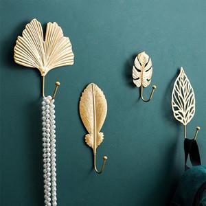 Wall-mount Metal Golden Leaf Shape Hook Clothes Coat Rack Key Purse Scarf Bag Hanger Door Wall Wardrobe Hanging Decoration Hook