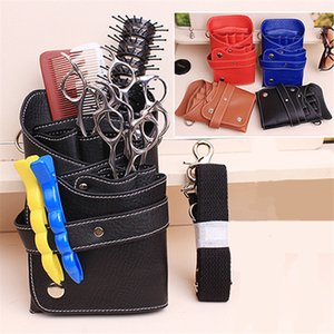 PU Leather Rivet Hair Scissor Bag Clips Bag Hairdressing Barber Scissor Holster Pouch Holder Case with Waist Shoulder Belt 201014