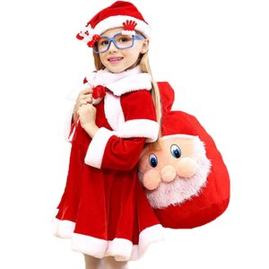High Quality Christmas Costume Boys Girls Santa Claus Red Dress with Cloak Cosplay Kids Children Clothing Girl's Clothes