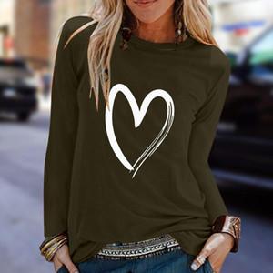 Love Heart T Shirt Plus Size Women Printed Long Sleeve Shirts Slim Easy Basic Tee Shirt Femme Top Camiseta Mujer Women T