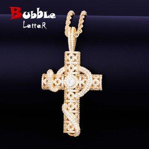 Tier Schlange Kreuz Anhänger 4mm Tennis Kette Halskette Gold Farbe Bling Zirkonia Herren Hip Hop Rock Schmuck 2.4x1.33 Zoll Y1220