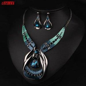 2020 Fashion Lovely Statement Chain Pendant Choker Bib Necklace Earrings Fashion Jewelry Set