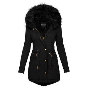 Langer Muyogrt weiblicher Winter Thick Cotton Warm Jacket Womens Outwear Parkas Plus Size-Pelz-Mantel EUP3