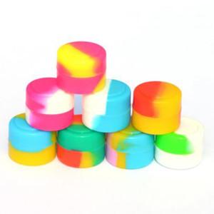 New Color Round Scatole Scatole in silicone Vasetti 2ml Mini Smoke Oil Oil Smoke Cream Display Scatole di visualizzazione contenitore Silicone Jars DAB Cera contenitore VT1972