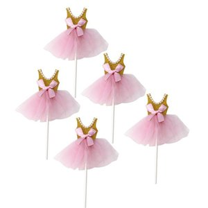 5pcs Girls Birthday Cupcake Topper Decor Glitter Princess Tutus Dress Cake Toppers Ballerina Skirt Cupcake Picks Party Supply A3 sqcCKz
