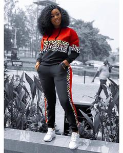 2-teiliges Set Herbst-Winter-reizvolle Frauen-2PCS Outfit beiläufige Art und Weise Designer Tracksuits Leopard-Druck Panelled Hoodies Damenmode