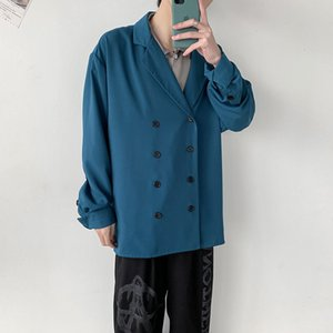 Spring Dress Men's Fashion Solid Color Double-breasted Casual Men Streetwear Loose Korean Long Sleeve Shirt S-2xl