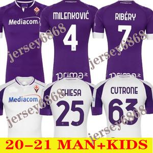 20 21 Fiorentina Futbol Formaları Amrabat 2020 2021 Milenkovic Ribéry B.Valero C.Kouame Chiesa Cutrone Duncan Erkekler Kids Kiti Futbol Gömlek