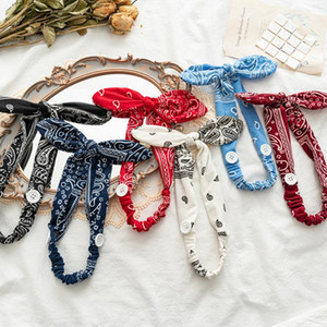 Women Rabbit Ears Headband With Button Vintage Cashew Print Headband Hairband Mask Holder Cross Knotted Bandage Hair Accessories Q bbyXzg