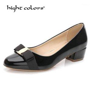 Размер 33-41 Высокое Качество Бренд То же самое Патентная Кожа Круглая головка толщиной с красной свадебной обуви Royal Blue Blue Blue Shoes Женщины T-6141