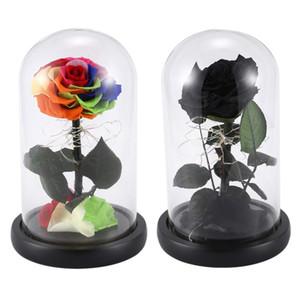 Rose Kit, rojo de seda de Rose y llevó la luz con pétalos caídos en vidrio E en el Día de San Valentín Aniversario Cumpleaños Base de Madera