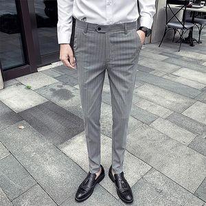2021 Men Dress Pant Classic Stripe Business Suit Pants Casual Slim Fit Wedding Formal Check Suit Trousers Pantalon Homme