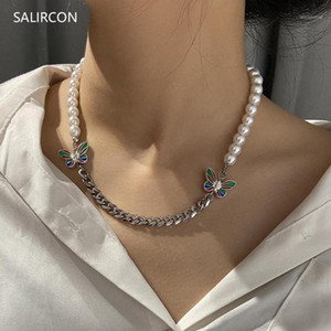 Salircon High Quality Stainless Steel Butterfly Choker Necklace Fashion Imitation Pearl Chain Necklace Women Punk Goth Jewelry1