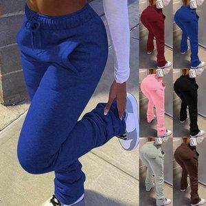 Streetwear Frauen Wide Bein Flare gestapelt Gepäcker Hosen Hohe Taille Leggings Hosen Sportbekleidung Sexy gestapelt Trainingsanzug Sweatpants1