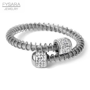 Cable Bracciale Donne Fysara regolabile braccialetto dell'acciaio inossidabile di modo del filo Wristband elastico Filo fascino Amante Gioielli sqcGnt