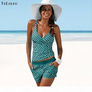 2018 New Plus Size Swimwear Women Swimsuit Two Pieces Tankini Padded Bathing Suit Polka Dot High Waist Bikini Set Beachwear