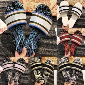 Mode Schuhe Frauen Sandalen Hausschuhe Paris Stickerei Sandale Blumenbrokat Flip Flops Gestreiften Strand Echtes Leder Dazzle Blumen Slipper