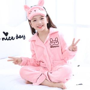 Autumn Winter Children Pajamas Set Warm Flannel Sleepwear Girls Loungewear Coral Fleece Kids Pijamas Homewear Cute Y200328