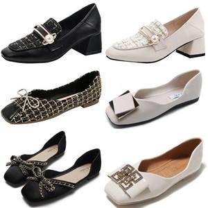 2021 Fashion Hot High heels designer Original women party wedding triple black white Thick heel Asakuchi Square head Flat Dress shoes