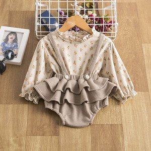 Baby Girls Clothes Cotton Infant Outfits Toddler Suits Floral Long Sleeve Shirts Tops Ruffle Shorts Bloomers Newborn Sets B4038
