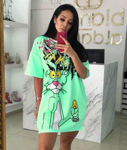 Diamonds Animal Dress Women Pink Panther T Shirt Dress Beading T Shirt Summer O Neck Short Sleeve Loose Dress