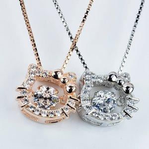 Süßes Mädchen S925 Silberkatze Halskette Koreanische Stil Zirkon Inlaidkätzchen Anhänger Womens Halskette Valentinstag Geschenk