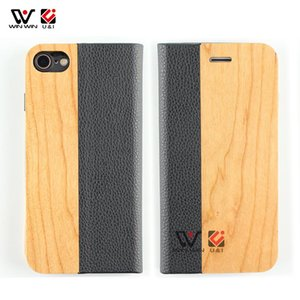 PU Leather Wood Flip Cell Phone Cover Case For iPhone 6 7 8 X 11 Pro Max