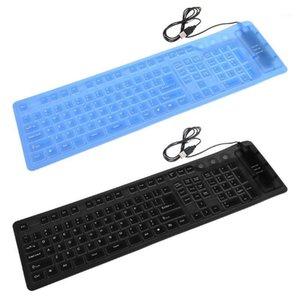 Keyboards 109 Keys Black Waterproof USB Silicone Rubber Flexible Foldable Keyboard For PC1