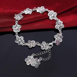 Nuevo llega hermosa pulsera noble cadena de flores moda boda fiesta plata linda dama agradable mujeres pulsera joyería lh013 h sqcjol