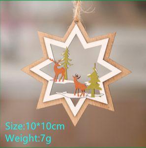 Decoraciones de Navidad de madera laser de la Navidad ahuecado árbol de navidad pequeño colgante colgante de regalo de madera Pentagram campana