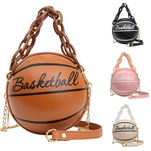 Fashion Female Leather Pink Basketball Bag 2020 New Ball Purses For Teenagers Women Shoulder Bags Crossbody Chain Hand Bags