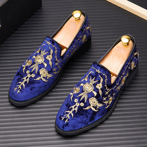 New European Men's Designer velvet Embroidery Men dress shoes Fashion formal shoes web celebrity Homecoming Prom Shoes Flats loafers