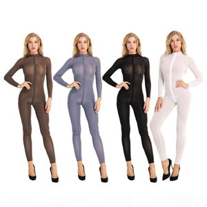 Women Sheer Opaque Stretchy Long Sleeve Shiny Jumpsuit Sheer Double Crotch Zipper Leotard Bodysuit Sexy Catsuit Costume
