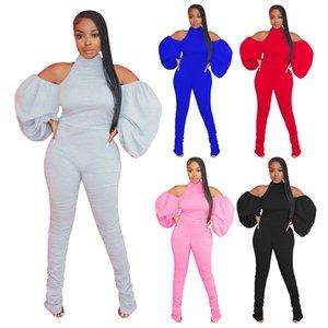 Frauen neues angekommen Heißen verkauf Jumpsuits beiläufige Art und Weise reizvolle Normallack-Backless dünne lange Ärmel Stacked Hose Freizeit Jumpsuits
