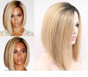 Eleganter kurzer Bob-Stil Blondine gerade Syntheiz-Spitze-Frontfront-Haar-Perücke Hochtemperatur-natürliche blonde Perücke