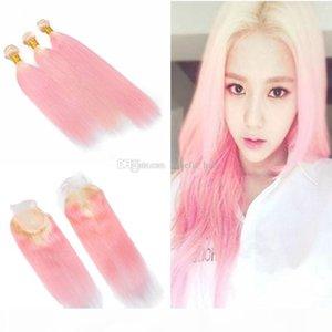Ombre Два цвета # 613 Blonde Peach Pink волос Уток Удлинитель с кружевом Закрытие розовый шелковистая прямая 3 Пучки волос девственницы переплетений С Закрытие